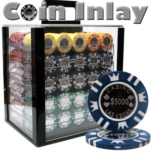 Brybelly 1,000 Ct Coin Inlay Poker Set - 15g Clay Composite Chips with Acrylic Display Case for Casino Games
