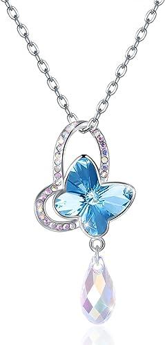 Damen Schmetterling Anhänger Edelstahl Schmuck Kette mit Zirkonia Kristallen