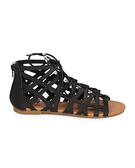 37df639ec0161 Qupid DH79 Women Leatherette Open Toe Hollow Out Lace Up Gladiator Sandal -  Black