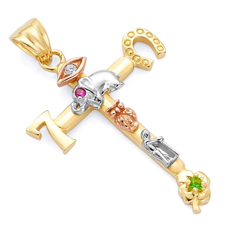 14k Tri Color Gold Lucky Religious Cross Pendant
