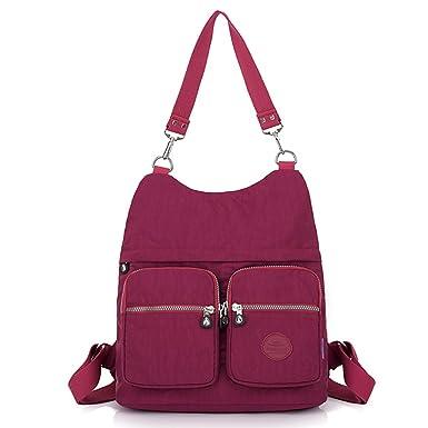 6067995a22 Travistar Women Shoulder Bag Multi-Pocket Convertible Backpack Purse Ladies  Nylon Handbags (072-