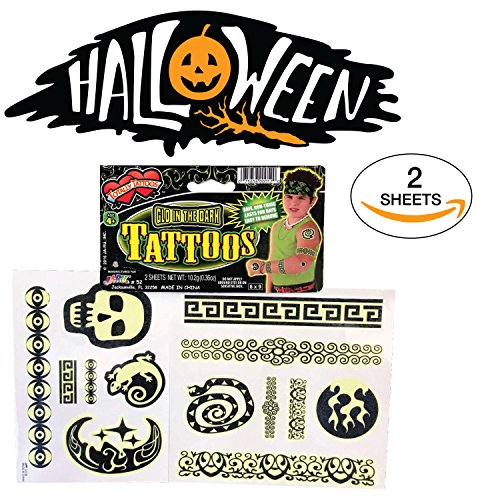 The #1 Rated Glow in The Dark Halloween Tattoos - Glow Halloween for Kids - Tattoos for Kids - Waterproof Temporary Tattoos -Halloween Party Favors - Assorted Fun Designs - Non Toxic. -
