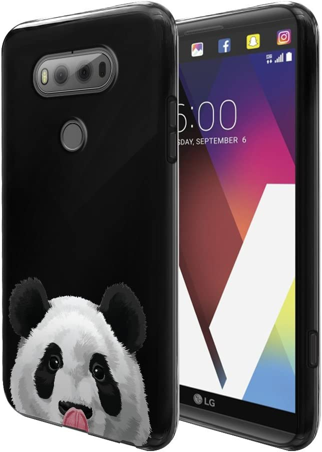 FINCIBO Case Compatible with LG V20, Flexible TPU Black Silicone Soft Gel Skin Protector Cover Case for LG V20 VS995 H990 LS997 H910 H918 US996 - Baby Panda Bear
