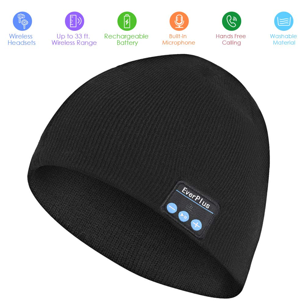 Bluetooth Beanie, Wireless Bluetooth Hat with Control Panel, Removable Headphones, Charges via USB, Fits for Outdoor Sports, Skiing,Running, Skating, Thanksgiving...