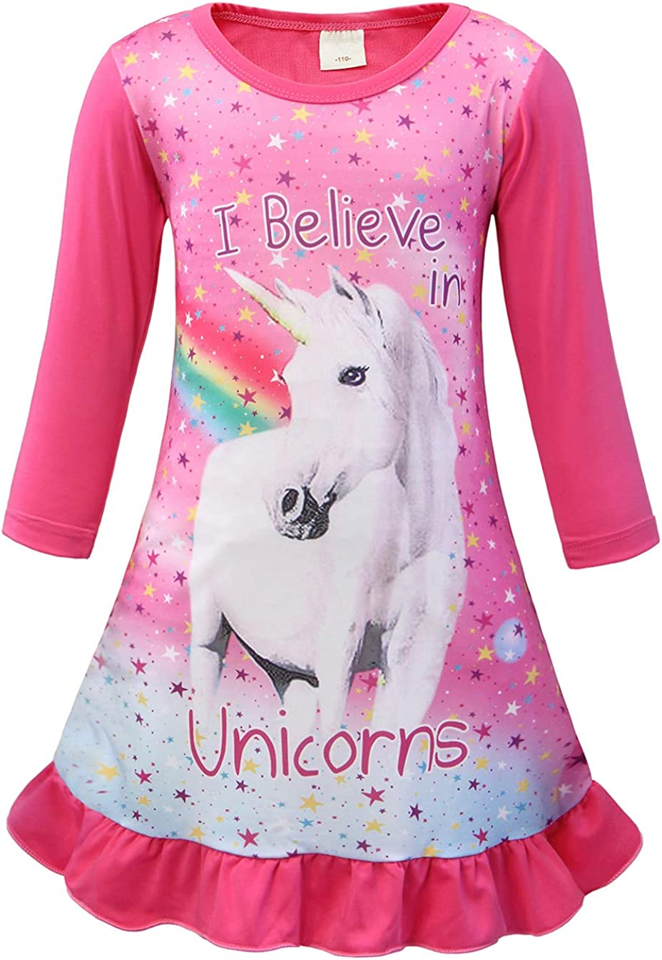 AmzBarley Camisón de Algodón Pijama Niña Unicornio Chica Manga Larga Vestido Fiesta Entero una Pieza Ropa de Dormir Traje Disfraz Ducha Noche