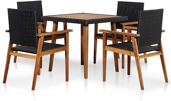 Fesjoy Juego de Comedor para Patio de Muebles de jardín al Aire Libre de 5 Piezas: Amazon.es: Electrónica