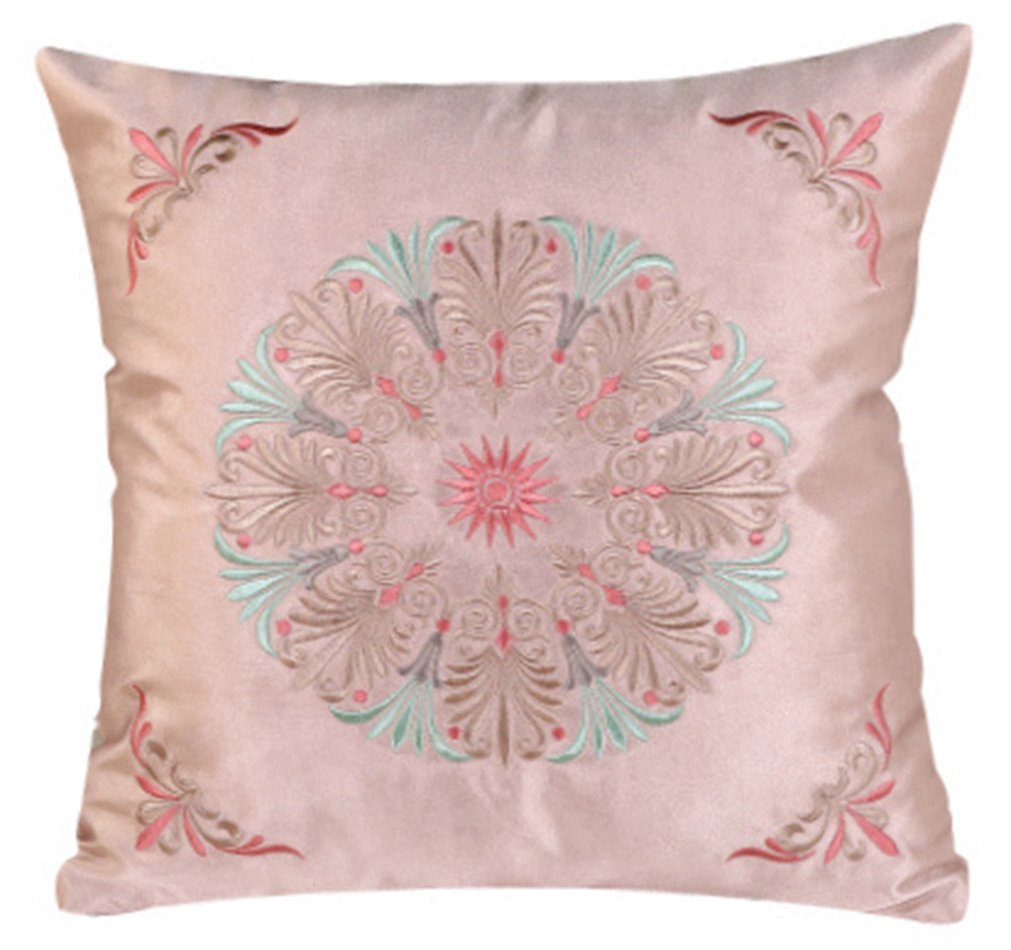 LivebyCare Embroidery Floral Filled Throw Pillow PP Cotton Insert 22x22 Inch Rayon Seat Chair Back Cushion Zipper for Decorative Car Home Sofa Lumbar Back Pillow