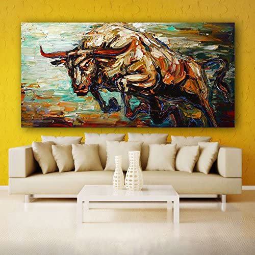 Orlco Art Hand-Painted Abstract Bull Oil Painting Abstract Art Animal Oil on Canvas Palette Knife Heavy Textured 40x80inch Frameless