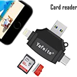Yafeite SD Card Reader,USB Memory Micro SD/TF Card Reader Adapter for Lightning Connector iPhone/iPad/Android Phone/Mac/Type C, 4 in 1 (Black)