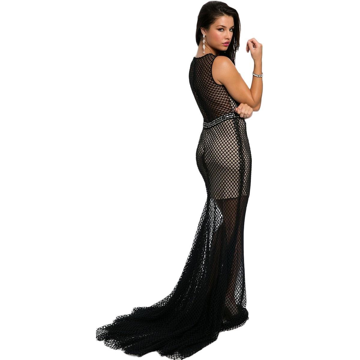Jovani Fishnet Overlay Rhinestone Formal Dress Black 8: Amazon.co.uk: Clothing