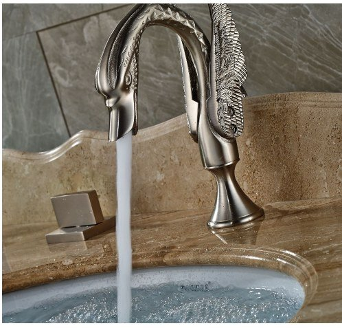 Gowe Bathroom 3pcs Brushed Nickle Sink Faucet Deck Mounted Mixer Tap Double Handles 4