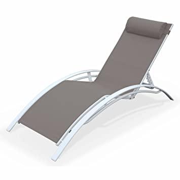 alice garden sun lounger aluminium and textaline louisa chaise lounge taupe white - Chaise Aluminium