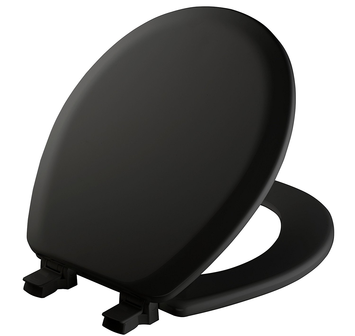 MAYFAIR Toilet Seat will Never Loosen and Easily Remove, ROUND, Durable Enameled Wood, Black, 41EC 047