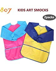 807 Kids Art Smocks, Children Waterproof Artist Painting Aprons Long Sleeve with 3 Pockets (2pack) (Paints and Brushes are not Included)