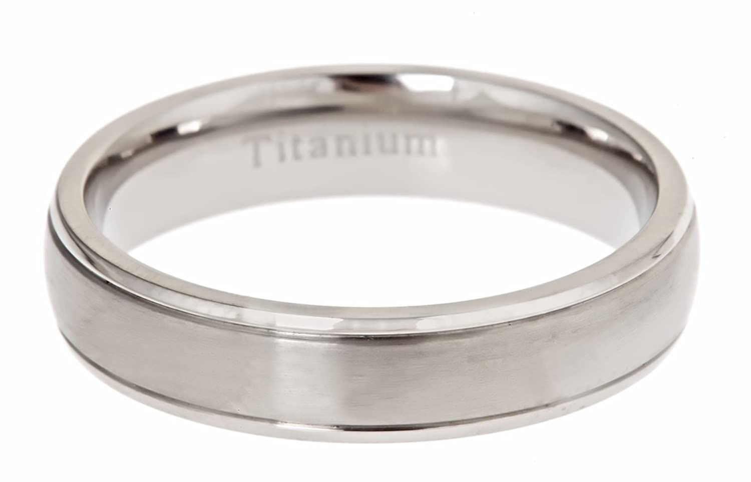 MJ Metals Jewlery MJ 5mm Brushed Polished Titanium Wedding Band Comfort Fit Band