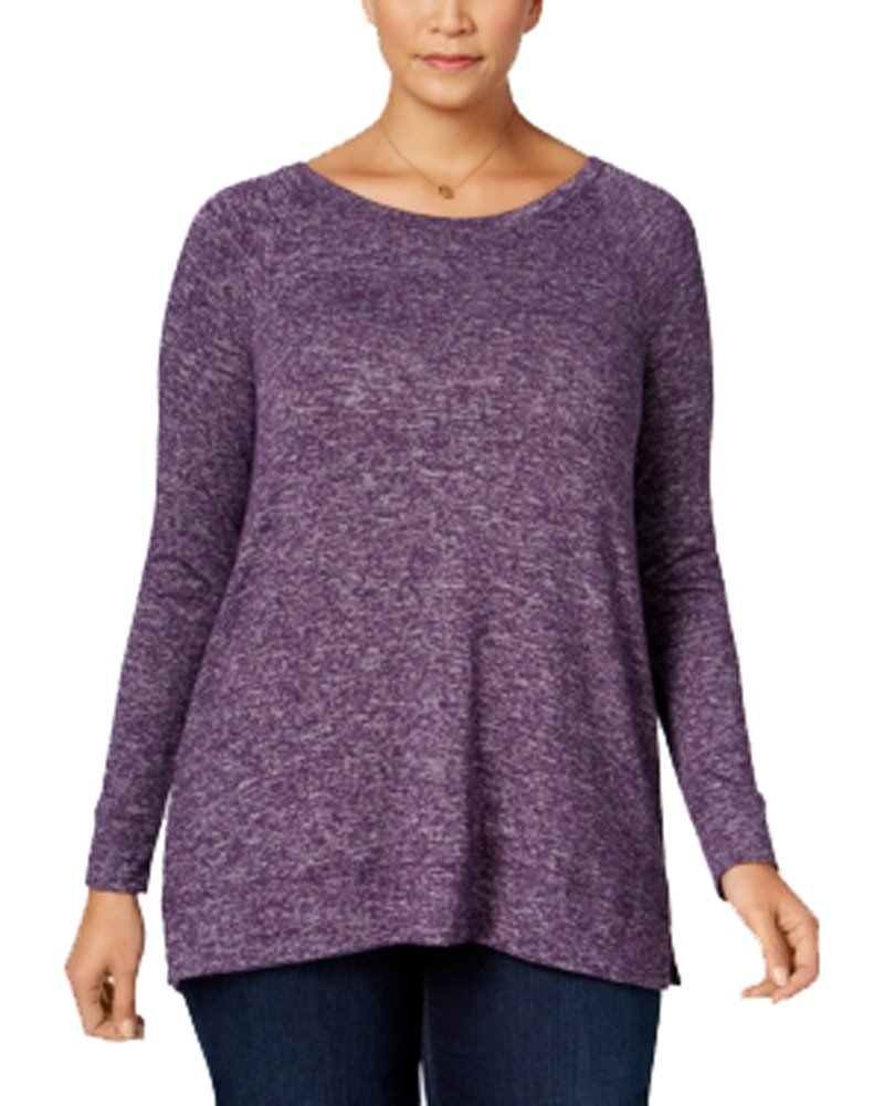 Style & Co. Womens Plus Marled Long Sleeves Blouse Purple 3X