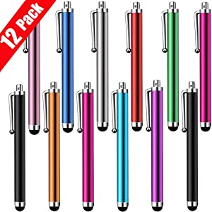 Stylus Pen 12 Pack of Pink Purple Black Green Silver Stylus Universal Touch Screen Capacitive Stylus for Kindle Touch ipad iPhone 6/6s 6Plus 6s Plus Samsung S5 S6 S7 Edge S8 Plus Note, Multicolor