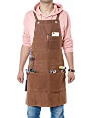 Workman Tool Apron, Heavy Duty Waxed Canvas Adjustable Work Apron with 3 Large Pockets for Engineers Carpenter Handymen Fit Kitchen, Garden, Pottery, Craft Workshop, Garage WQ40