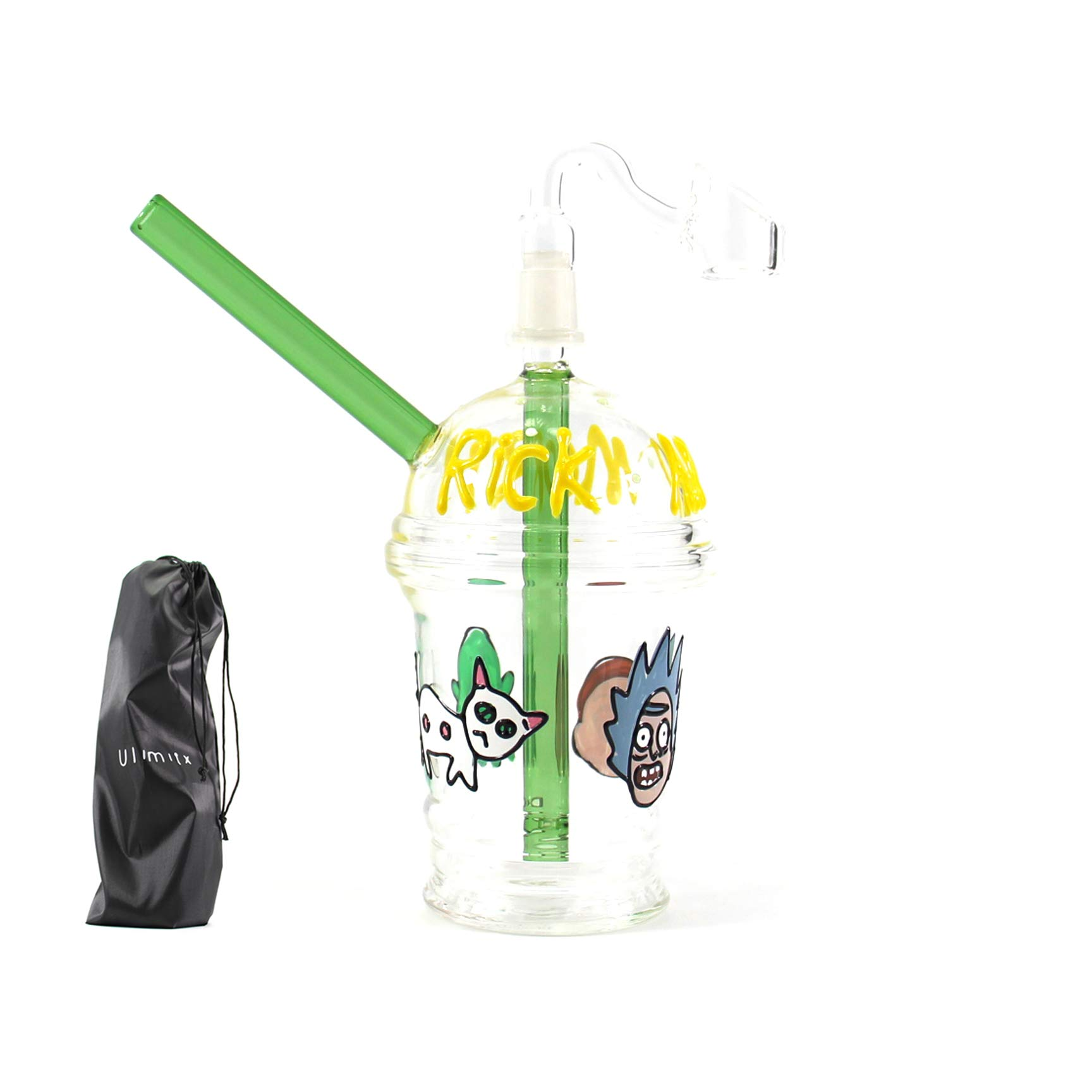 Ulimitx Handmade Glass Crafts Pipe, Glass Big Water Chamber, Clearer Perfect Bubble Effect, with Luminous Effect