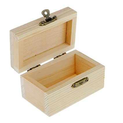 Amazoncom Baosity 5pcs Small Wood Craft Box Plain Unpainted Wooden