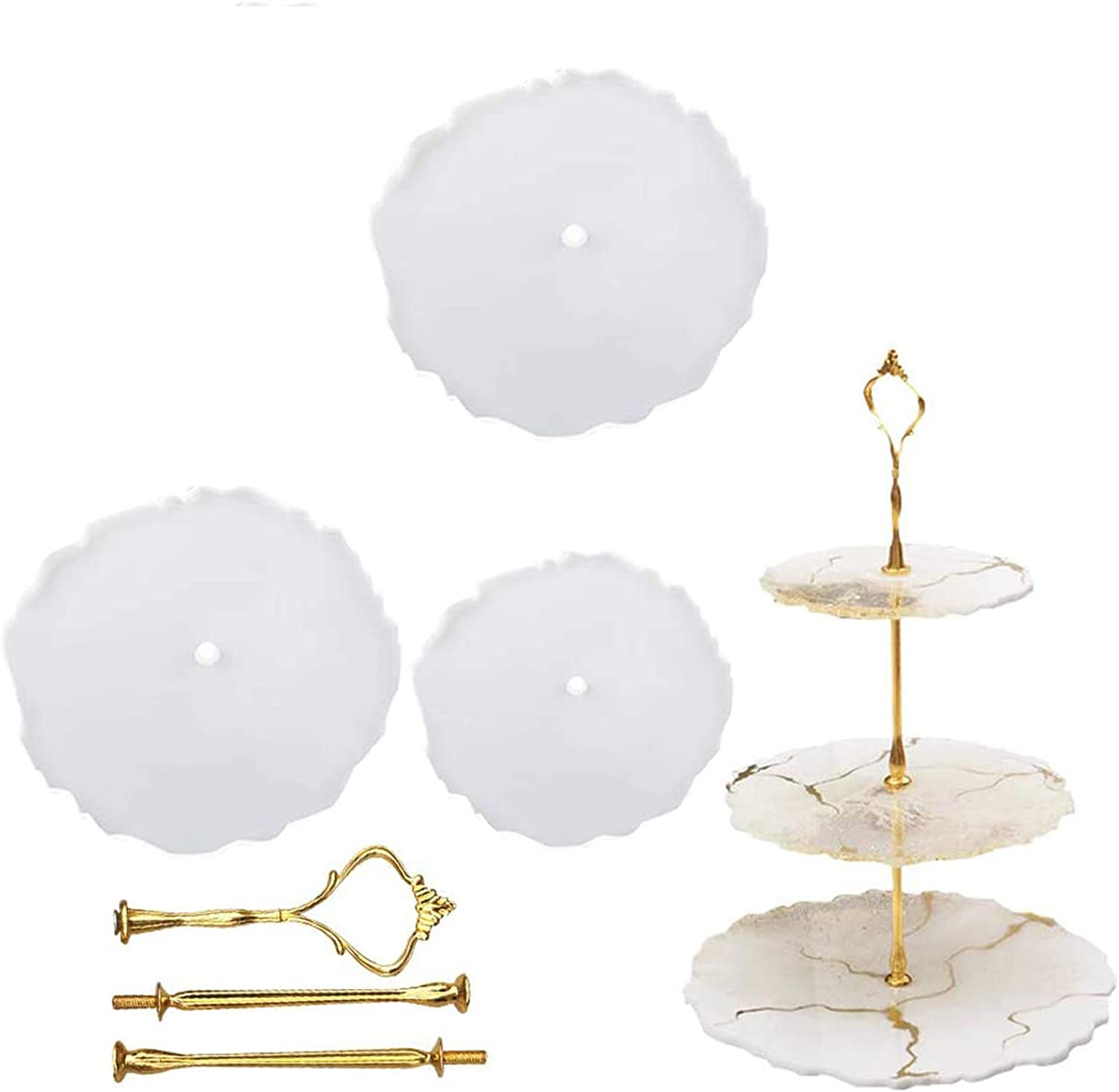 Round+Square 2 Pack 3 Tier Cake Stand Resin Tray Molds Epoxy Resin Casting Mold with 6Pcs Crown Brackets and 20 Gold Foils DIY Silicone Mold for Making Cupcake Dessert Platter Serving Stand