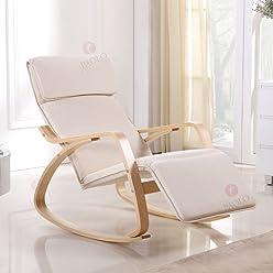 i-flair Relaxstuhl, Schwingstuhl mit verstellbarem Fussteil - Naturweiß
