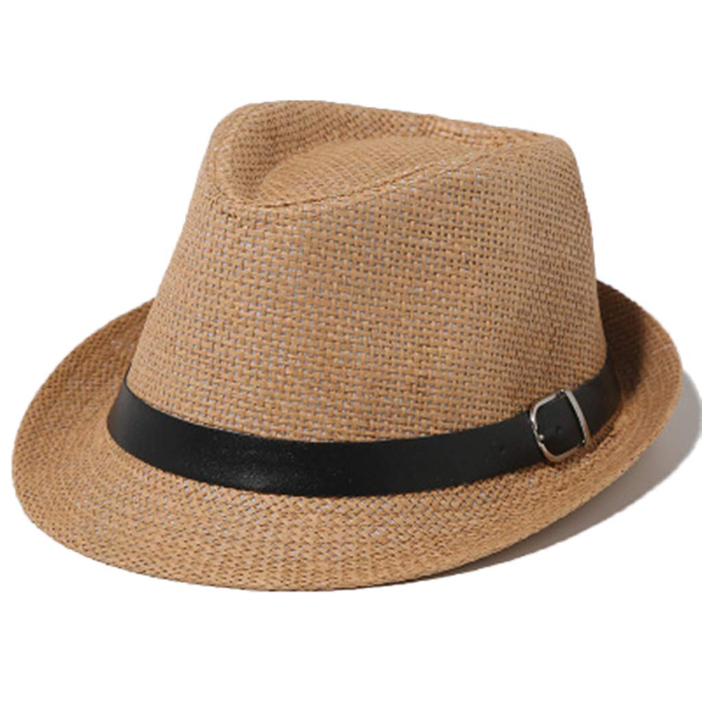 Exing Different Adult&Child's Size Classic Straw Trilby Fedora Hat Wide Curved Brim Solid Color Jazz Hat