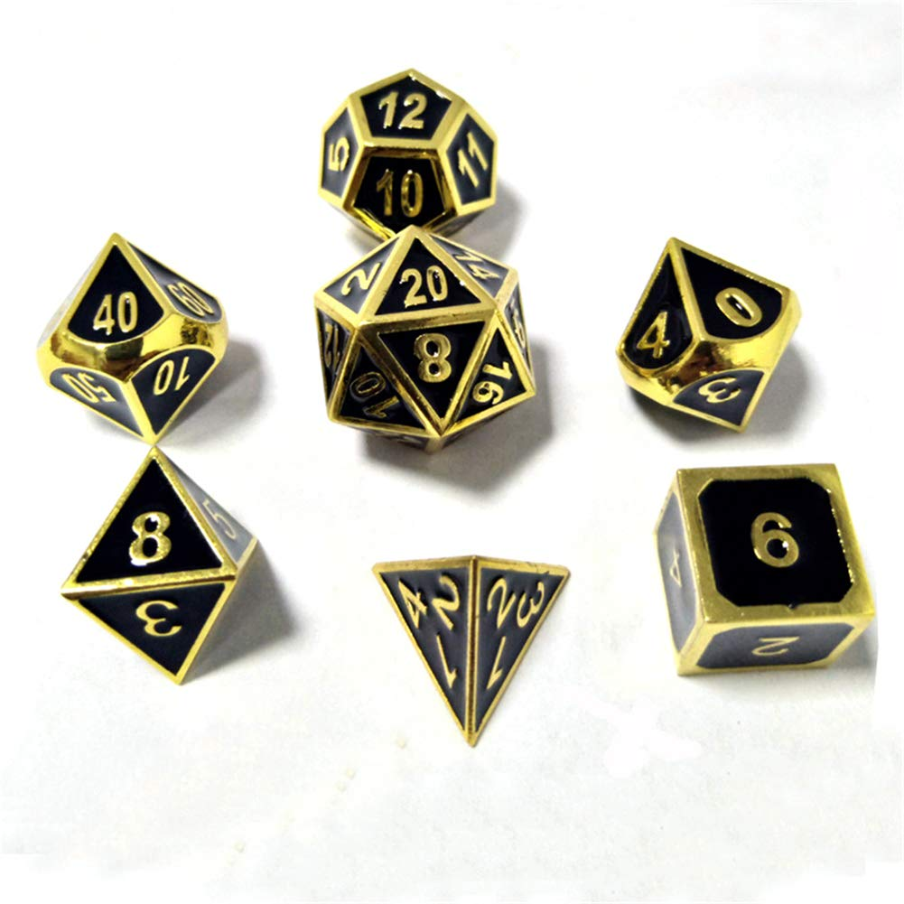 Metall Polyedrische 7-Die W/ürfel Set F/ür Dungeons and Dragons RPG W/ürfel Gaming F/ür D/&D Mathematik Lehre A2 Sril