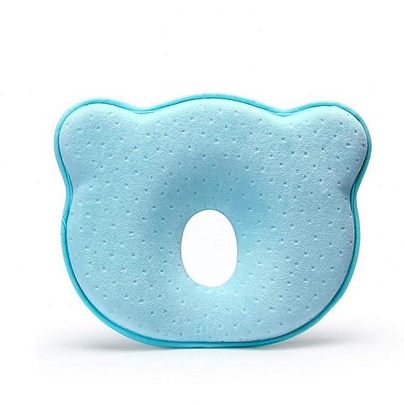 Recién nacido principal del bebé que forma la almohada para dormir Prevención transpirable lavable previene la cabeza plana azul claro