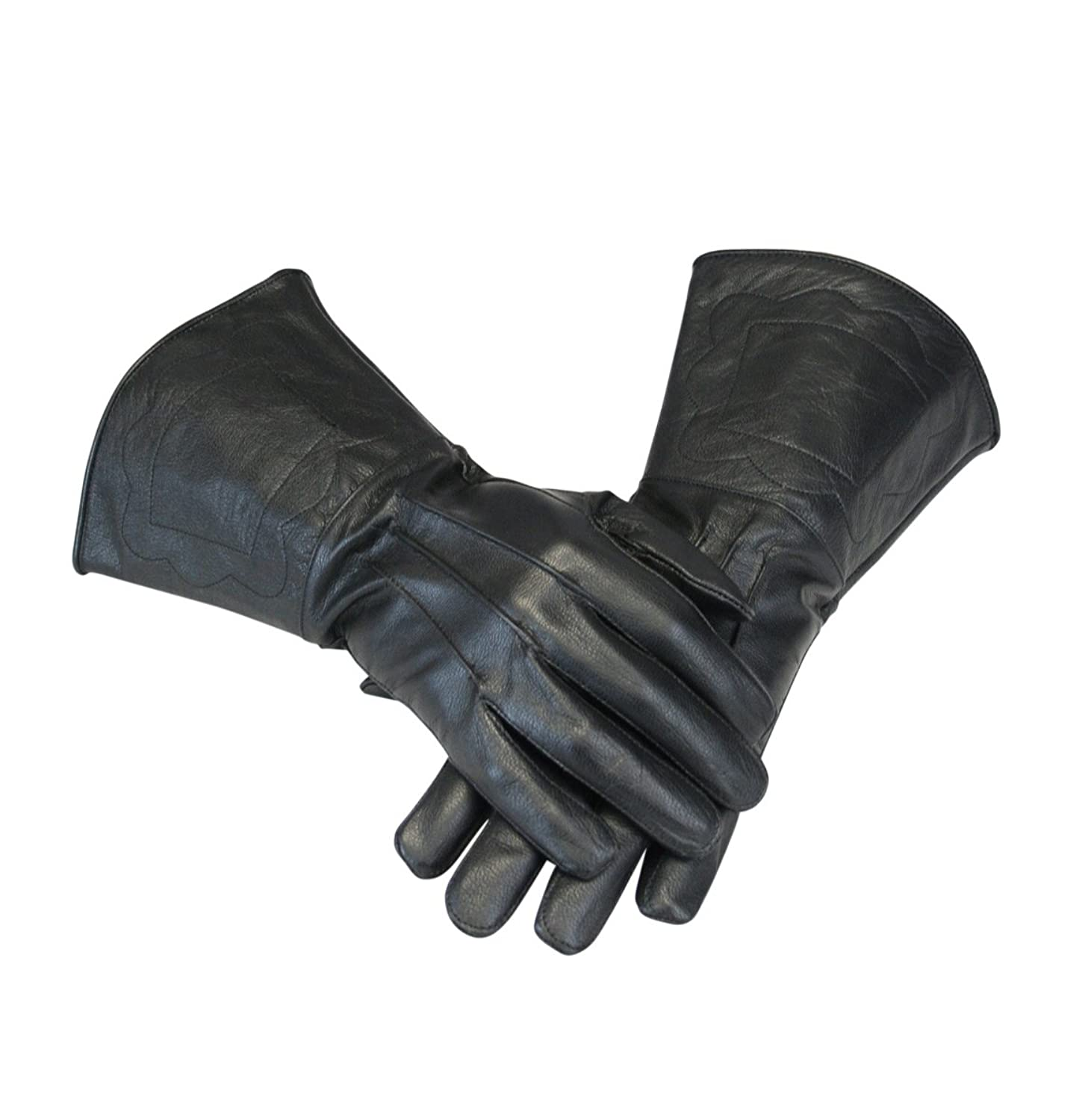 Renaissance Men Genuine Black Leather Gauntlet Gloves