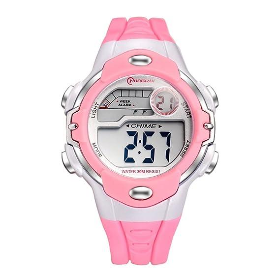 Niño Relojes digitales,Niña Chico Impermeable Multifunción Reloj deportivo Goma Correa con hebilla pasador-B: Amazon.es: Relojes