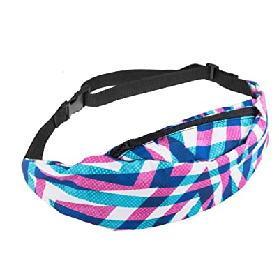 low-cost Fullfun Multi Coloured Print Waist Bag Zipper Fanny Pack Money Bum Bag with Adjustable Hip Belt