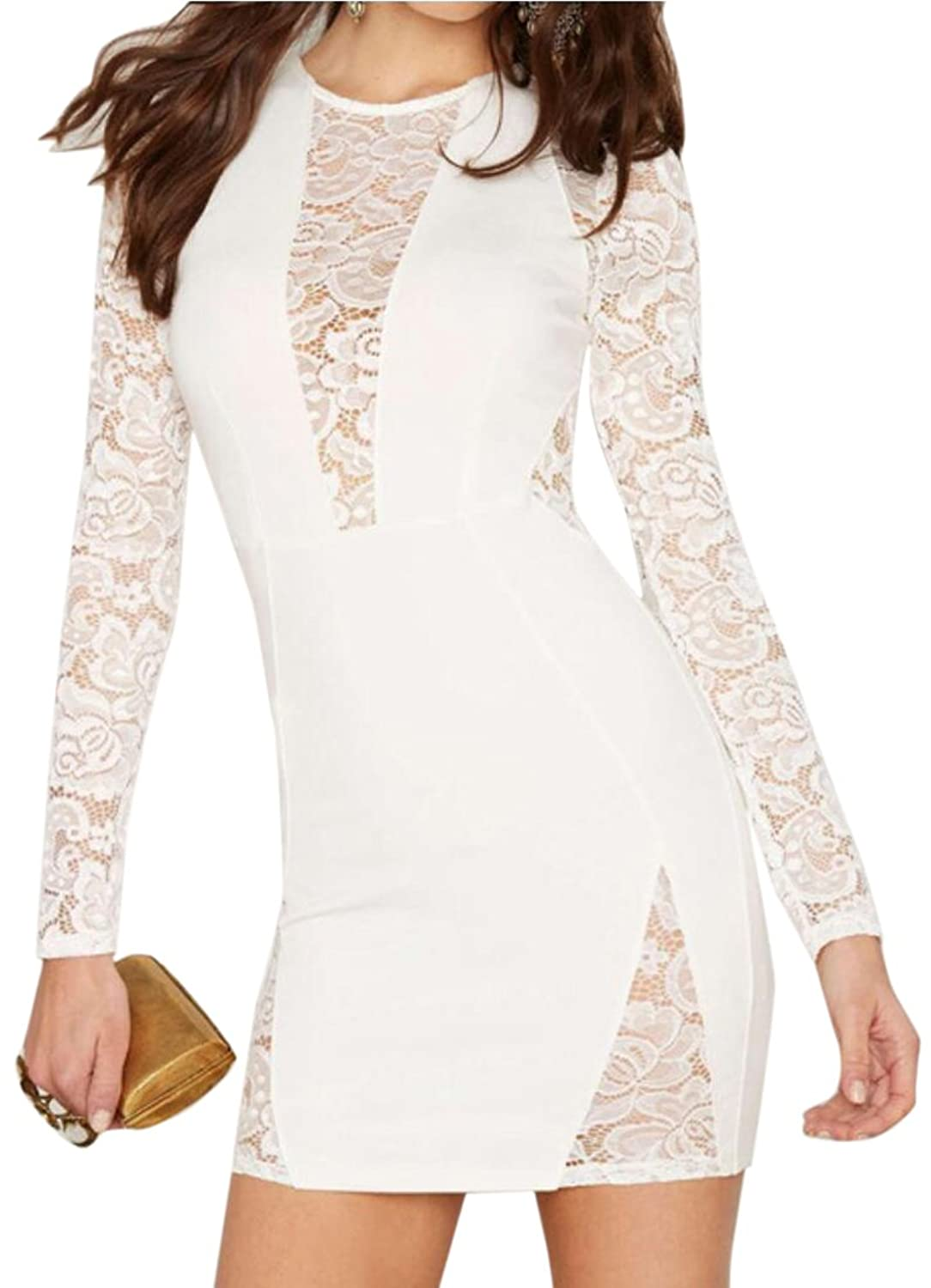 Generic Womens Sexy Lace Stitching Slim Package Hip Dress