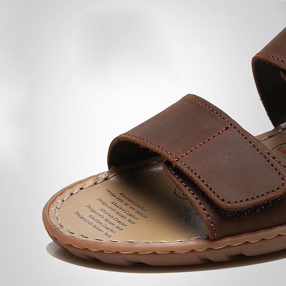 Outdoor Pantoffel Sandale Mann Strand Schuhe Leder Open-Toe Designed Soft Echtes Leder Schuhe Rutschfeste Komfortable Einstellbar (38-47 Größe) (Farbe : Braun, größe : 44) Braun 55ca2f