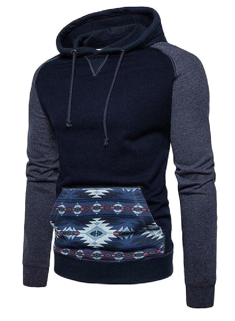 VividYouMen Geometric Shape Pattern Kangaroo Stitching Comfy Sweatshirt