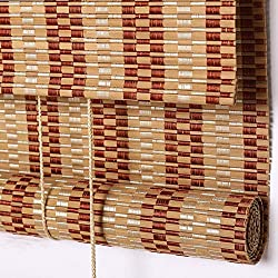 PASSENGER PIGEON Bamboo Roller Shades, Light Filtering Roll Up Blinds with Valance,