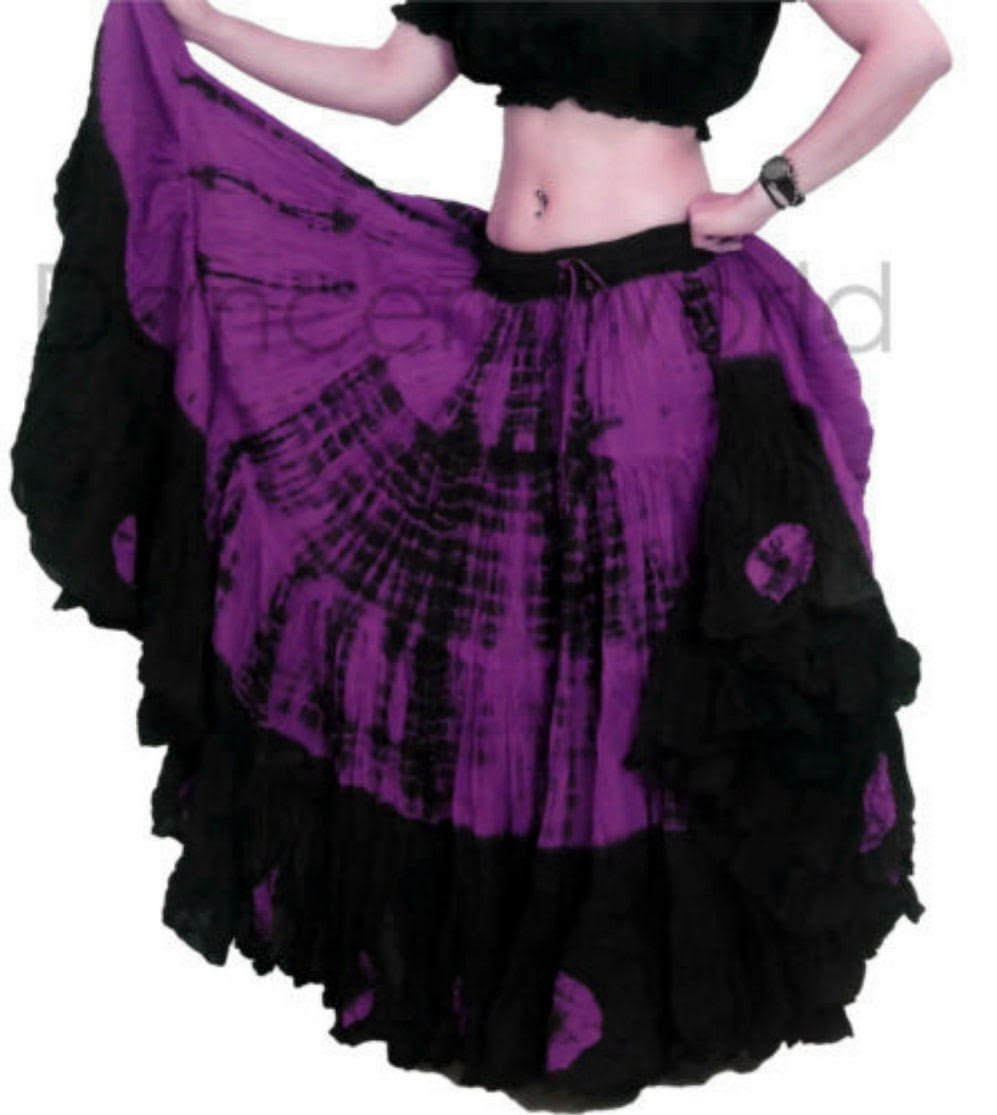 Tie Dye 25 YardヤードTribalジプシーコットンベリーダンススカート| Dancer世界 ブラックパープル