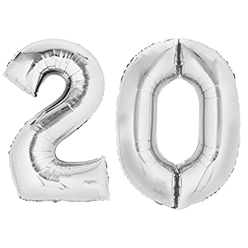 Folienballon Zahlenballon Geschenk Luftballon Geburtstag Silber 80cm Zahl 10