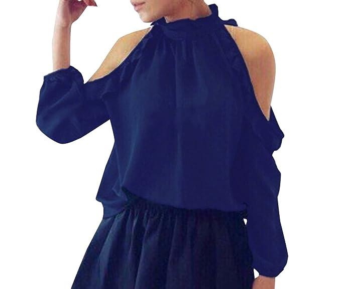 Legendaryman Primavera y Otoño Tops Mujer Moda Colores Lisos Blouses T-Shirt Sexy Sin Hombro Camisetas de Manga Larga Blusa tee: Amazon.es: Ropa y ...