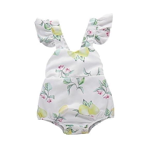 ASHOP Bebé Monos, Mamelucos Estampados de limón para niñas pequeñas recién Nacido Mono Manga Corta Bodies Ropa Bebe niña Verano Moda Conjunto Bebé: ...