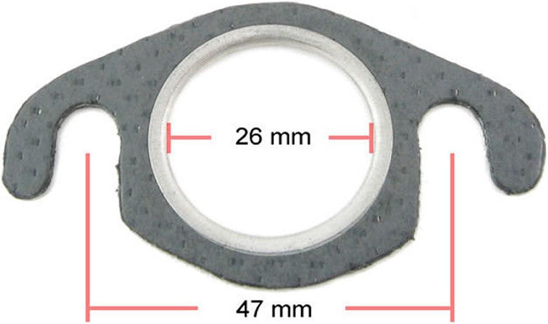 Auspuffdichtung Auspuff Krümmer Dichtung 26mm 48 Mm Stehbolzenabstand Für 50ccm 2 Takt Motoroller Auto