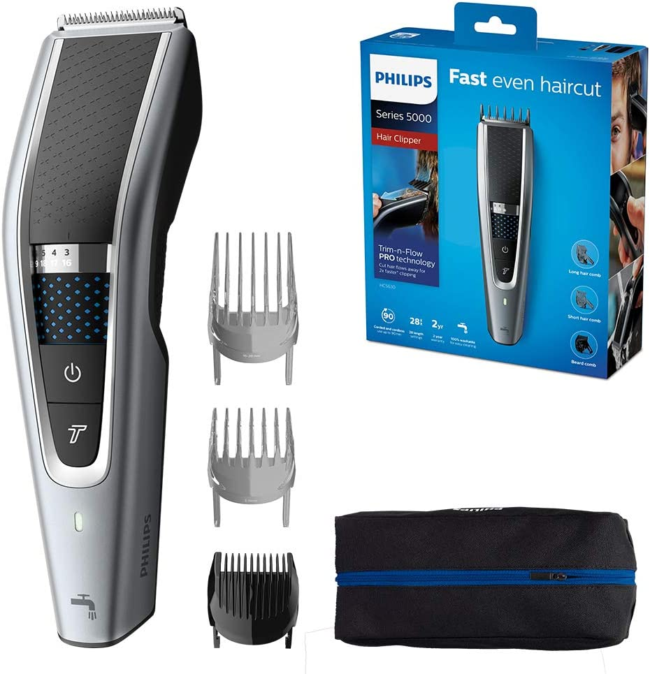 Philips Series 10 Trim-n-Flow PRO Technology Hair Clipper, Fully  Washable, Silver/Black, HC10/10