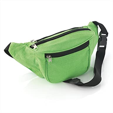 Bright Neon Green Fabric Bum Bag / Fanny Pack - Festivals /Club ...