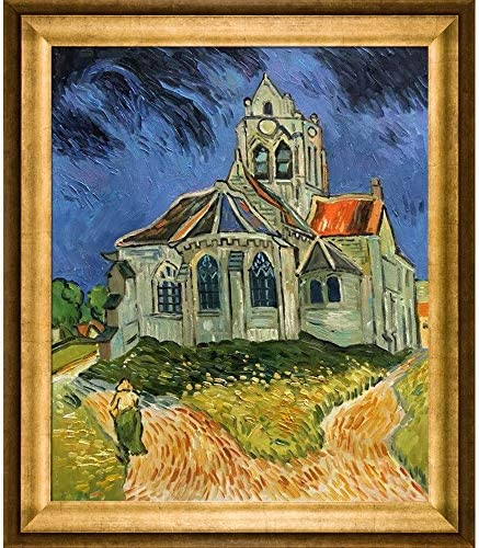 overstockArt Van Gogh The Church at Auvers with Athenian Gold Frame Oil Painting, Antique Finish