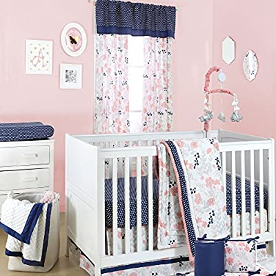 Coral Pink Floral and Navy Dot 5 Piece Crib Bedding Set by The Peanut Shell