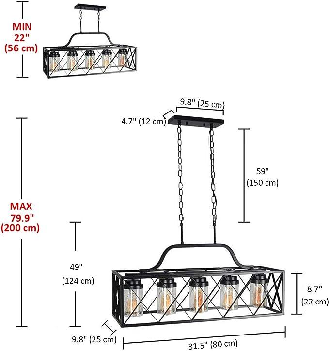 Lámpara colgante de metal negro rectangular, marco de caga con ...