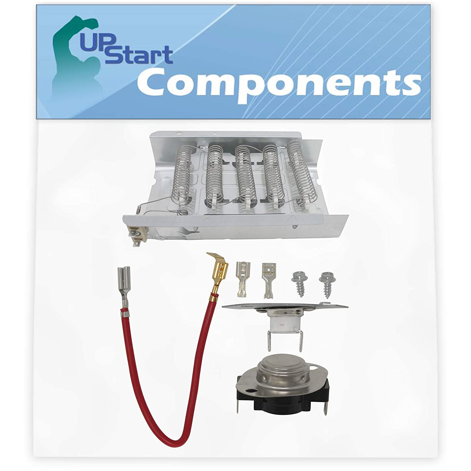 279838 And 279816 Dryer Heating Element and Thermostat Combo Pack Replacement for Estate TEDS740JQ1 Dryer - Compatible with 279838 & 279816 Heater Element & Thermal Cutoff - UpStart Components Brand
