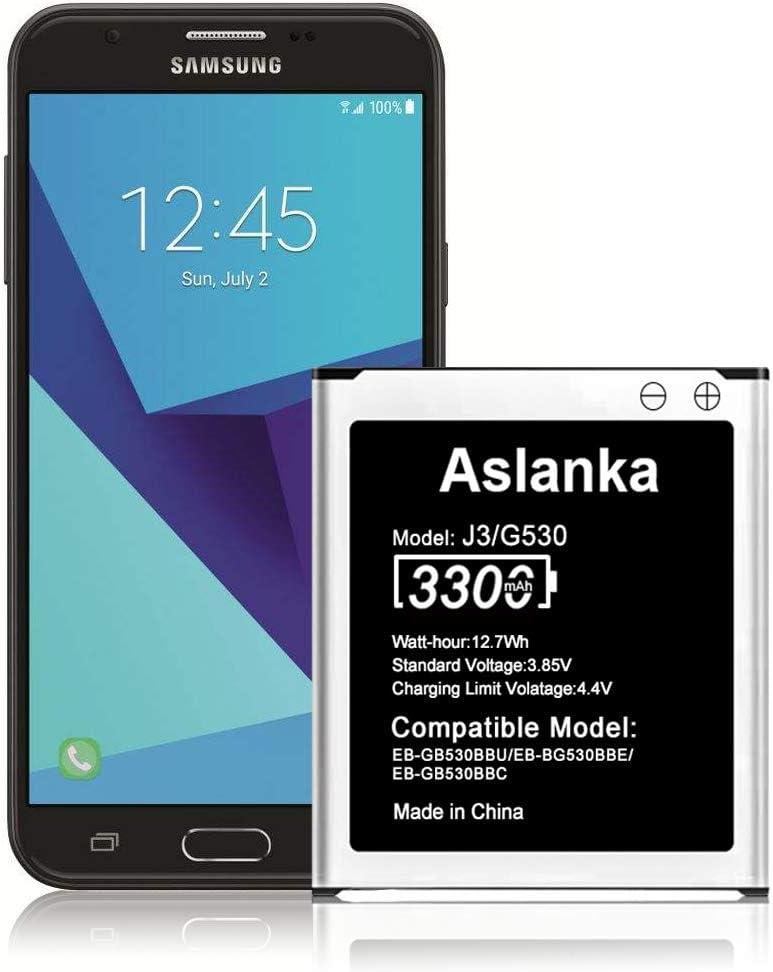 Aslanka Battery for Samsung J3, High Capacity 3300mAh (Enhanced) Battery Replacement Compatible Galaxy J3 J320A J320V EB-BG530BBU EB-BG530BBE J5-G530P G530AZ-24 Months Warranty