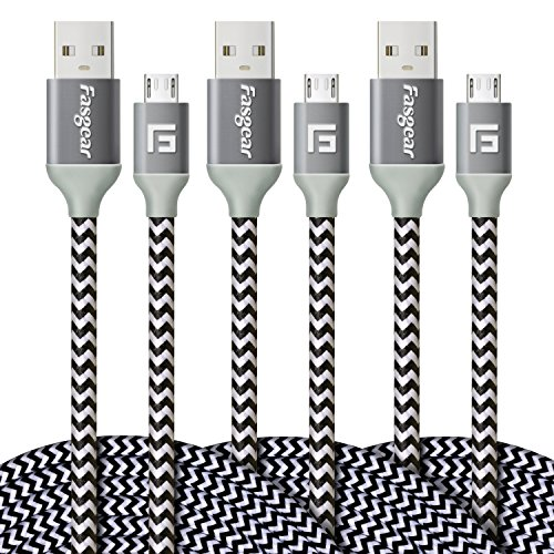 Micro USB Cable, 3 pcs (10ft/3M) Fasgear Nylon Braided Tangle-Free Fastest charger data colorful cable with Metal Connectors for Android, Samsung galaxy S6/S6 edge, HTC and more (White)