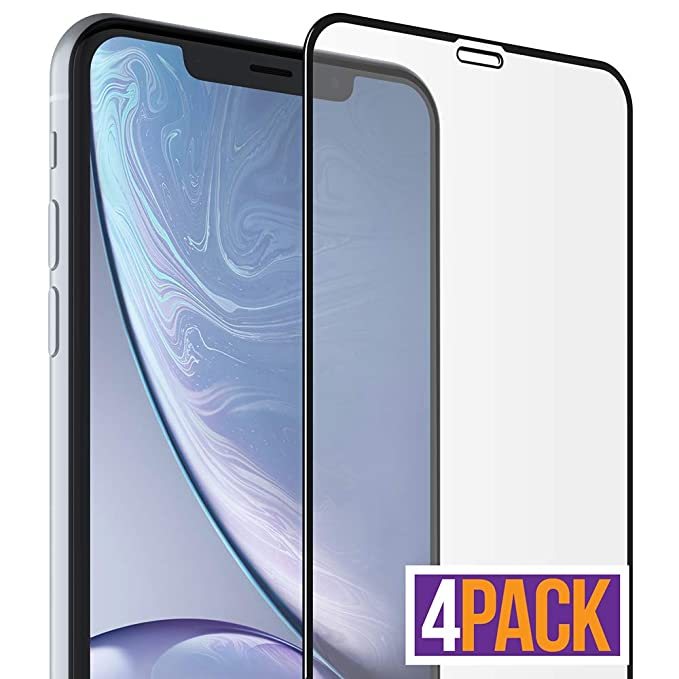 the latest 3ab9c 7de57 FlexGear iPhone XR Glass Screen Protector [Full Coverage] Clear, Tempered,  Designed iPhone XR (4-Pack)
